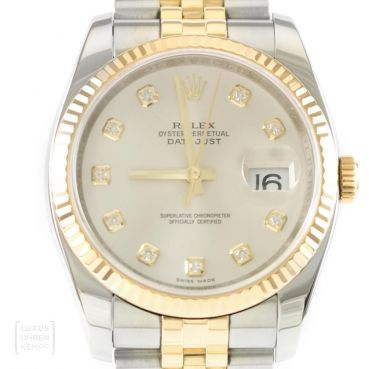 Rolex Uhr Datejust Oyster Perpetual Edelstahl/Gold Diamonds Ref. 116233